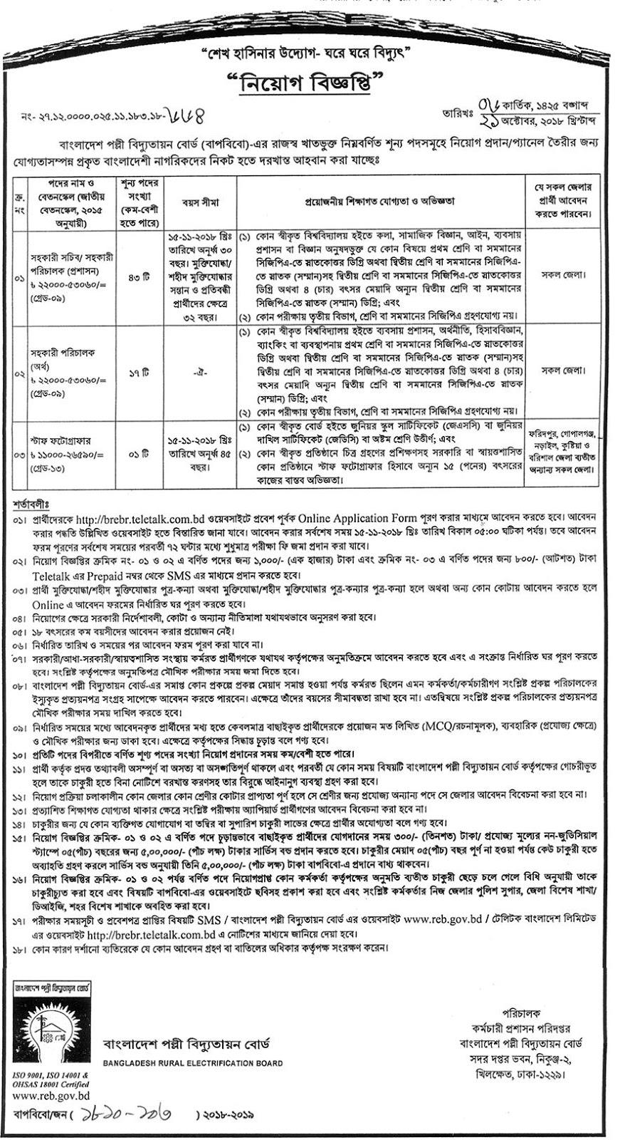 Bangladesh Rural Electrification Board (BREB) Job Circular 2018