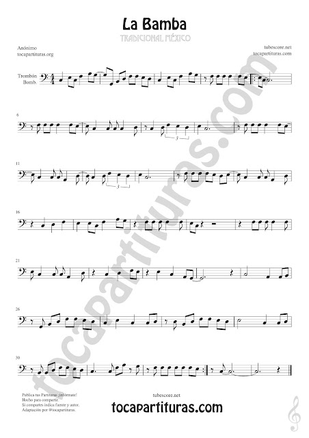 La Bamba Clave de Fa Sheet Music for Trombone and Euphonium Music Scores Bass Clef