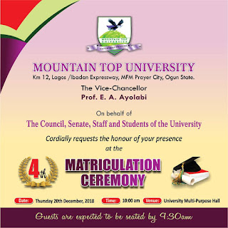 Mountain Top University 4th Matriculation Ceremony Schedule 2018