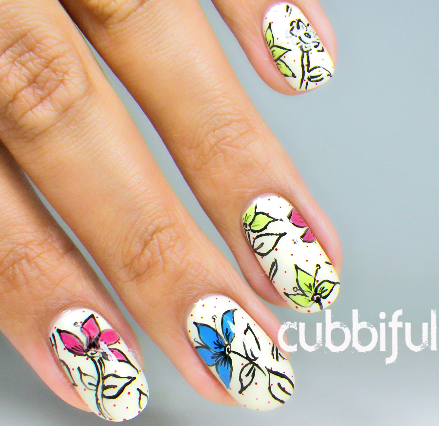 vintage polka dots floral nails