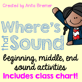 Where's That Sound? Students have a letter and place it on the chart to show if it is the beginning, middle, or ending sound.