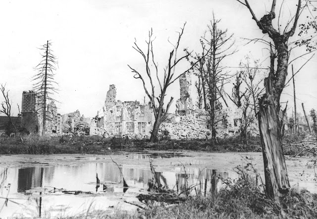 Original caption: Wrecked French chateau. Chateau destroyed by German shell fire, Dives, Oise, France.