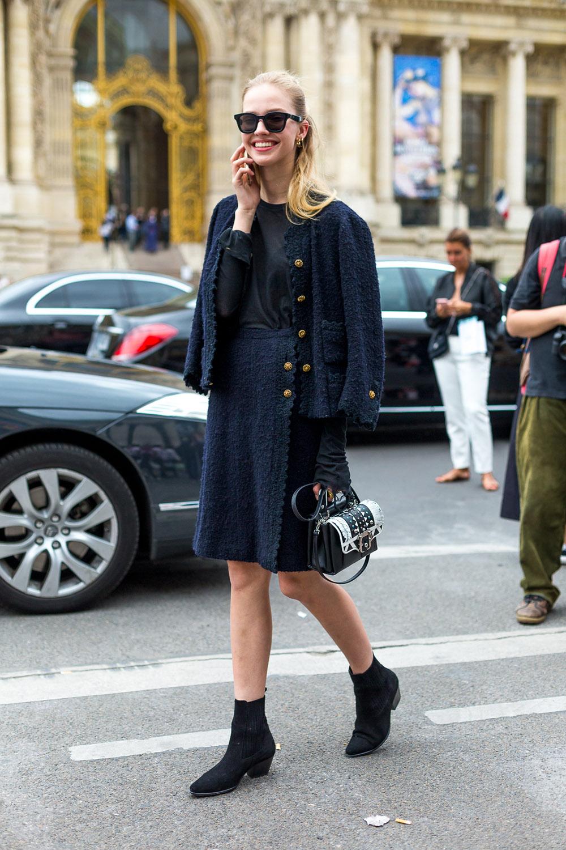 Street Style: Sasha Luss Wears a Navy Skirt Suit