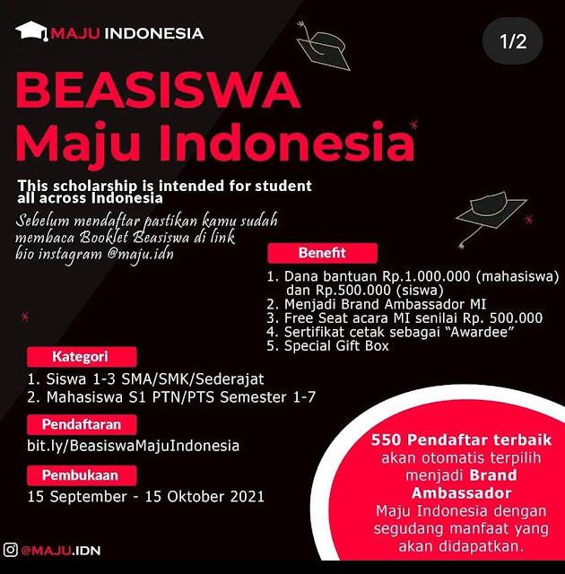 Beasiswa Maju Indonesia Deadline 15 Oktober 2021