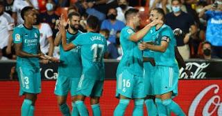 فاز ريال مدريد على مضيفه فالنسيا 2-1 ضمن منافسات الجولة الخامسة في الدوري الاسباني