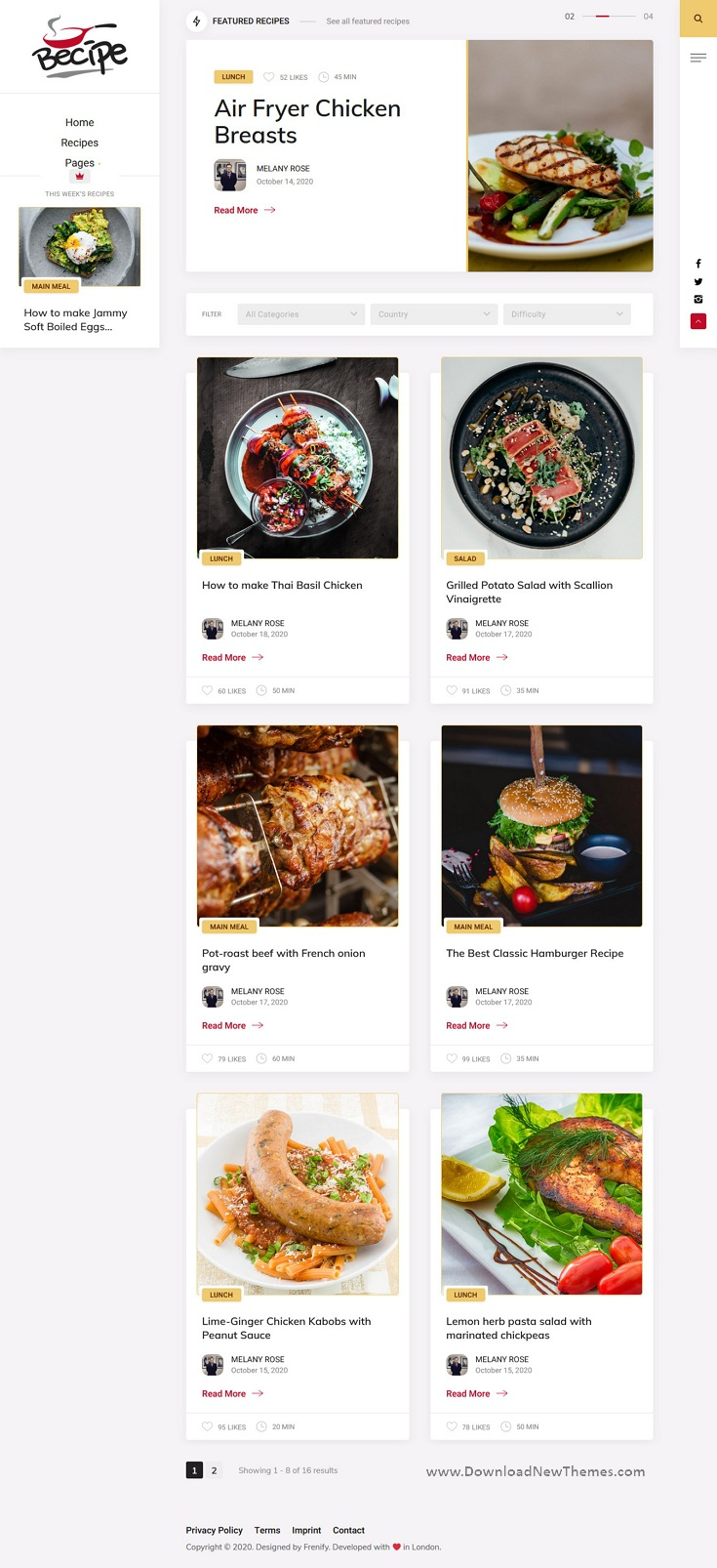 Recipe Blogging WordPress Theme