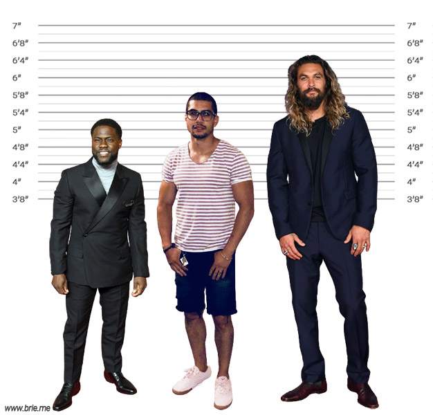 Rick Gonzalez height comparison with Kevin Hart and Jason Momoa