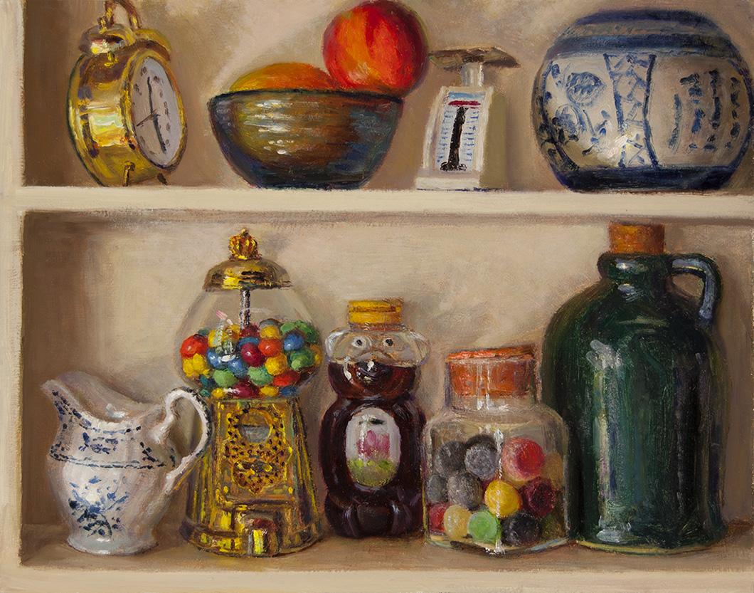 Wang fine art still life with candy dispenser on shelf for Shelf life of paint