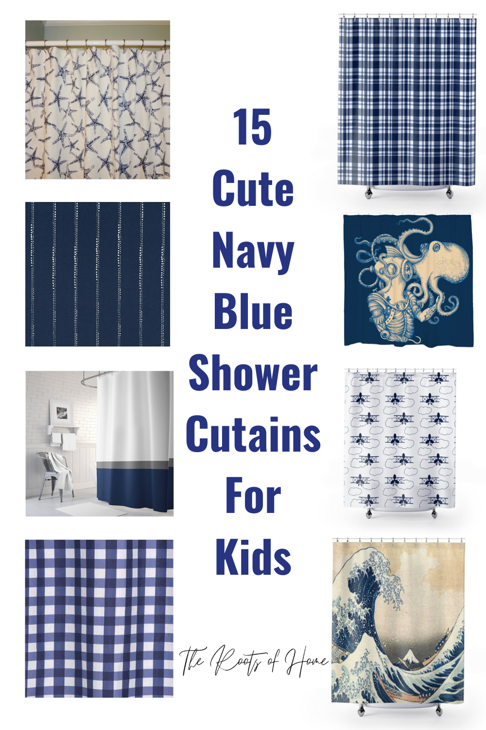15 Cute Navy Blue and White Shower Curtains for Gender Neutral Kids' Bathrooms