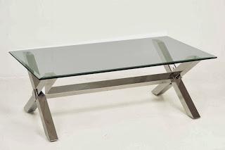 mesa acero y cristal baja, mesa centro acero cafe