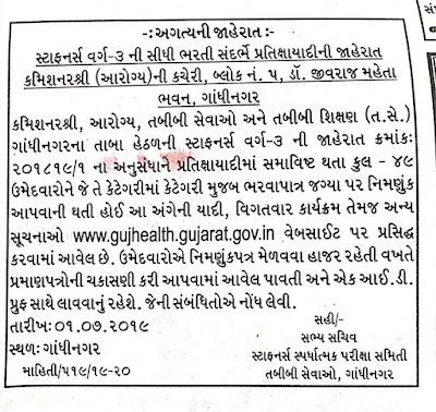 Gujarat Health Department Final Selection / Merit List 2019 | Staff Nurse: