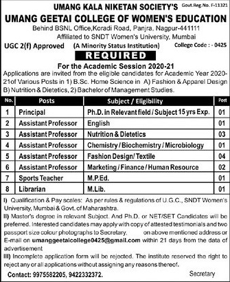 Umang Geetai College Biochemistry/Microbiology Faculty Jobs