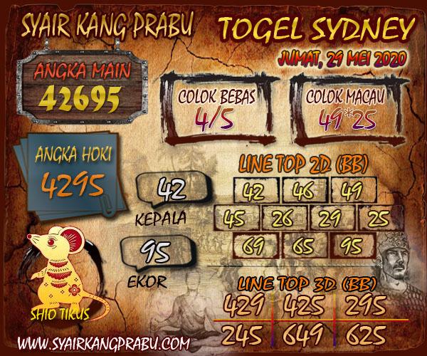 Prediksi Togel Sydney Jumat 29 Mei 2020 - Syair Kang Prabu
