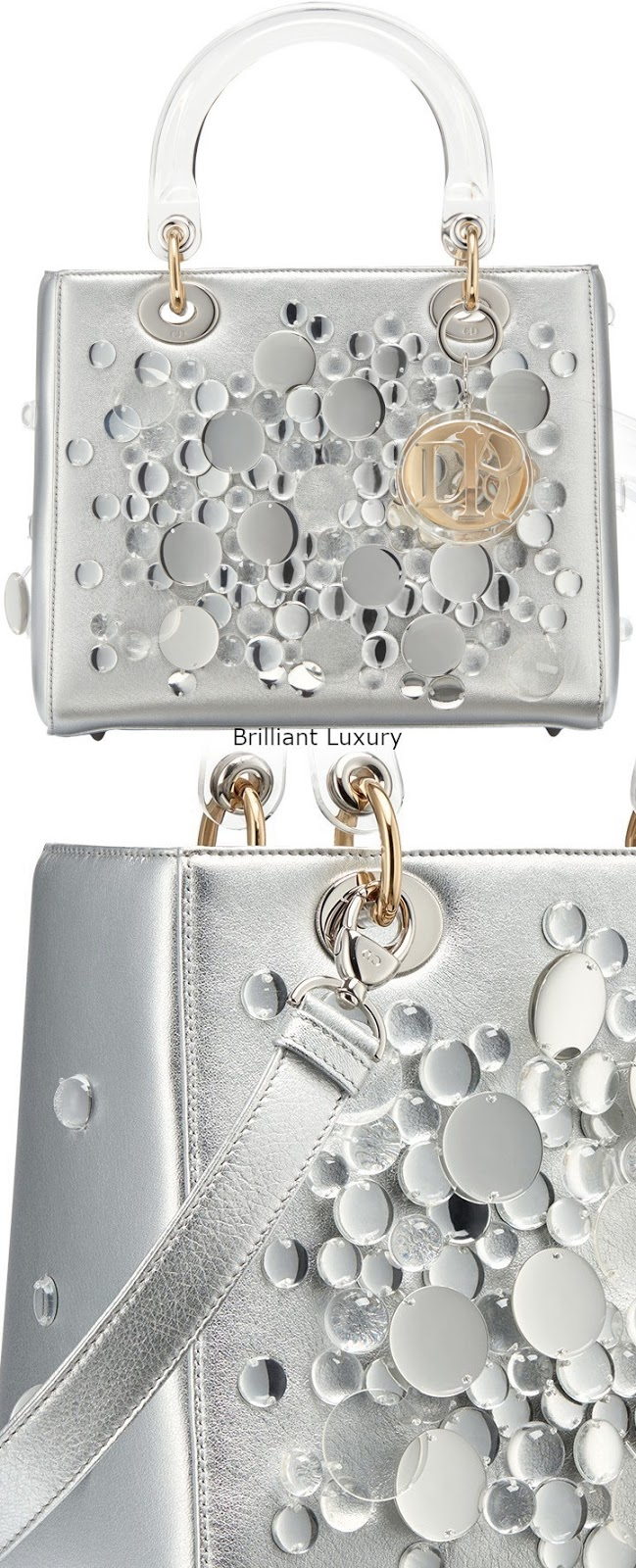 Brilliant Luxury♦Lady Dior bag, silver color metallized lambskin embroidered with transparent lenses,designer Haruka Kojin