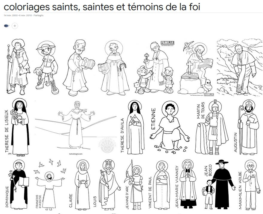 Des silhouettes de saints à colorier