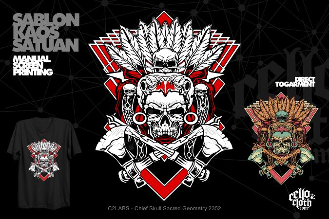 Chief Skull Sacred Geometry 2352 Kaos Distro Limited Artwork