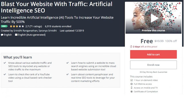 [100% Off] Blast Your Website With Traffic: Artificial Intelligence SEO| Worth 19,99$