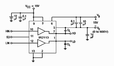 IR2113 Switching Time Test Circuit Schematic