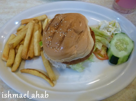 Fries, burger, and pipino in Meat Plus Cafe Subic