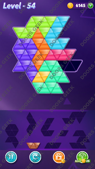 Block! Triangle Puzzle 8 Mania Level 54 Solution, Cheats, Walkthrough for Android, iPhone, iPad and iPod