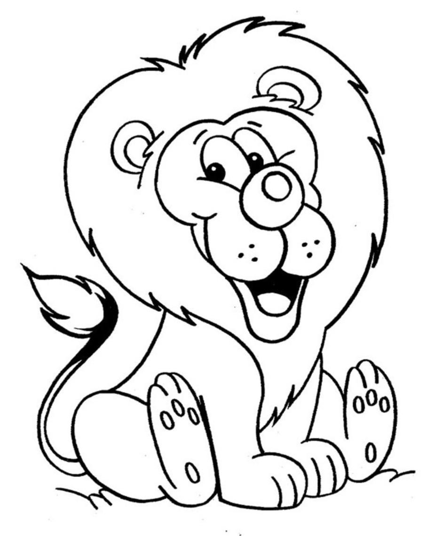 Gambar Singa Hitam Putih : gambar, singa, hitam, putih, Gambar, Mewarnai, Singa, Kartun, Sukagambarku