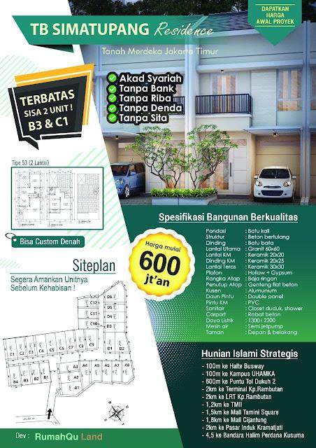 Perumahan syariah jakarta timur Simatupang Residence Pasar Rebo