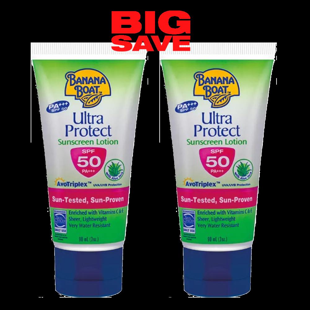2x90ml Banana Boat Ultra Protect Skin Sunscreen Lotion Spf50 Pa With Aloe Vera 489148672575 Ebay