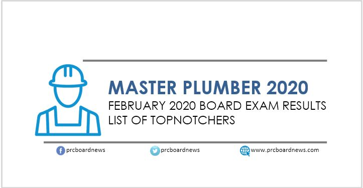 PRC RESULT: February 2020 Master Plumber board exam top 10