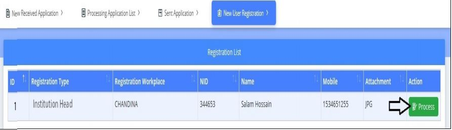 New User Registration menu