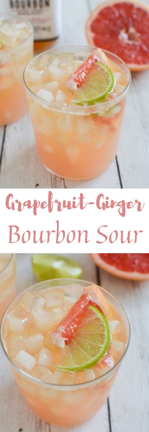 Grapefruit-Ginger Bourbon Sour #drink #cocktail #party #easy #smoothie
