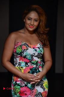 Nikesha Patel Stills in Floral Dress at Araku Road Lo Movie Interview