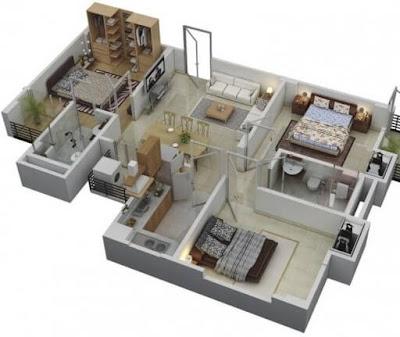 Contoh Gambar 3D Desain Rumah Minimalis Modern Terbaru 6