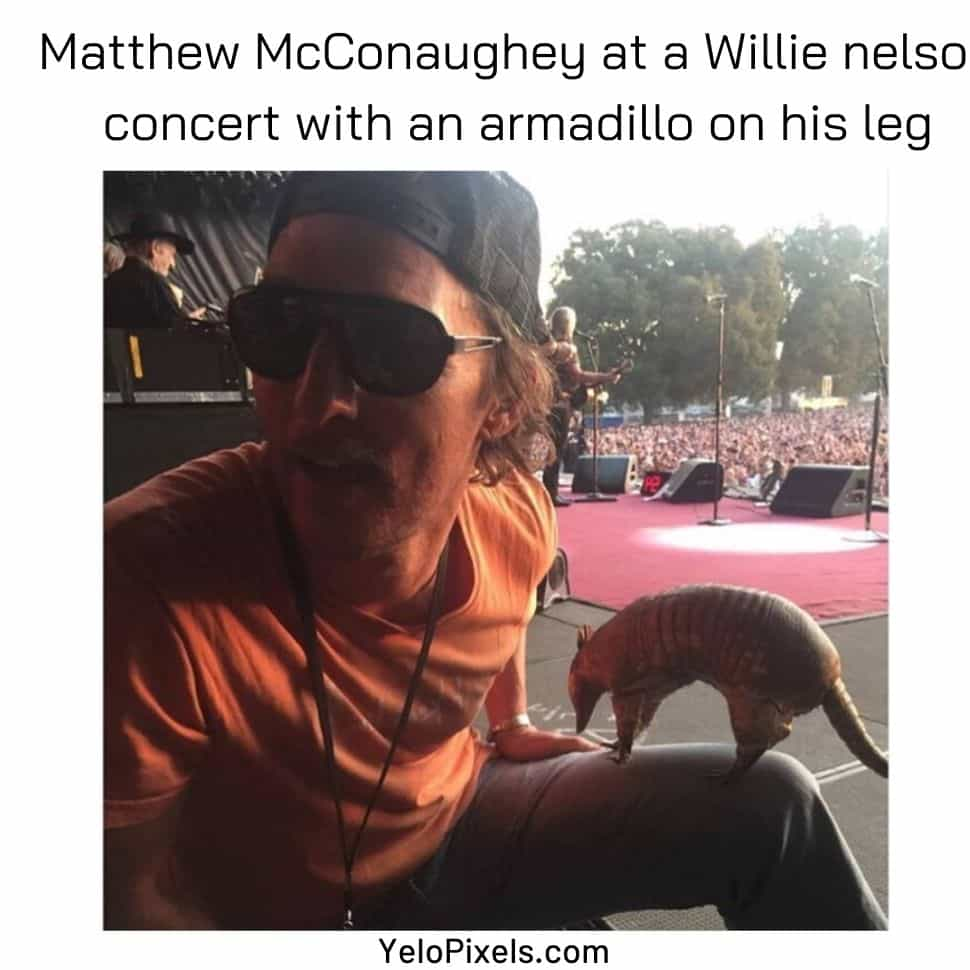 Matthew-mcconaughey-at-a-willie-nelso-concert-with-an-arnadillo-on-his-leg-best-memes