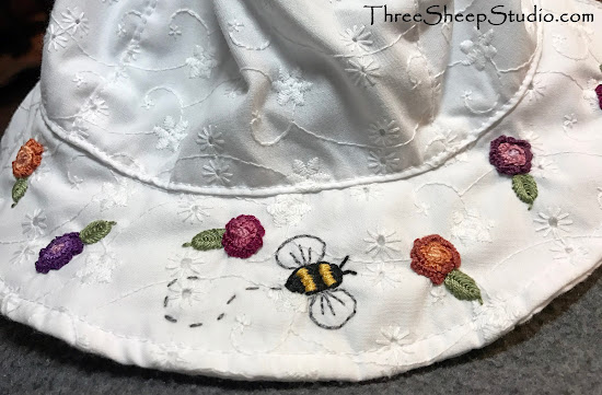 Hand Embroidered Sun Hat by Rose Clay at ThreeSheepStudio.com