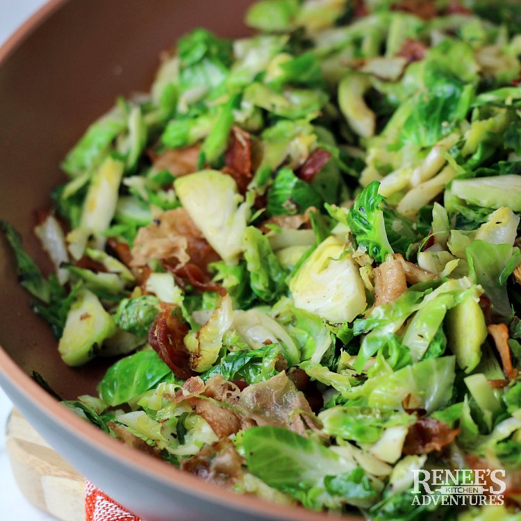 Sauteed Brussels Sprouts with Bacon by Renee's Kitchen Adventures in pan and ready to serve