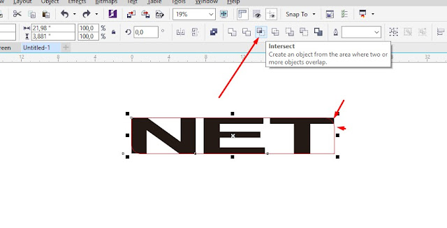 Interselect Text untuk mengambil design Curved, Text asli dihapus saja