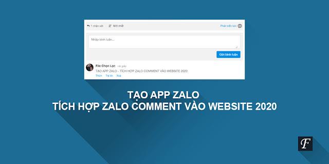Tạo App Zalo - Tích hợp Zalo Comment vào Website 2021