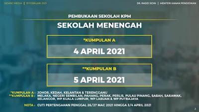 Tarikh Sekolah Buka Selepas PKP 2.0