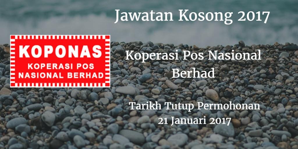 Jawatan Kosong Koperasi Pos Nasional Berhad 21 Januari 2017