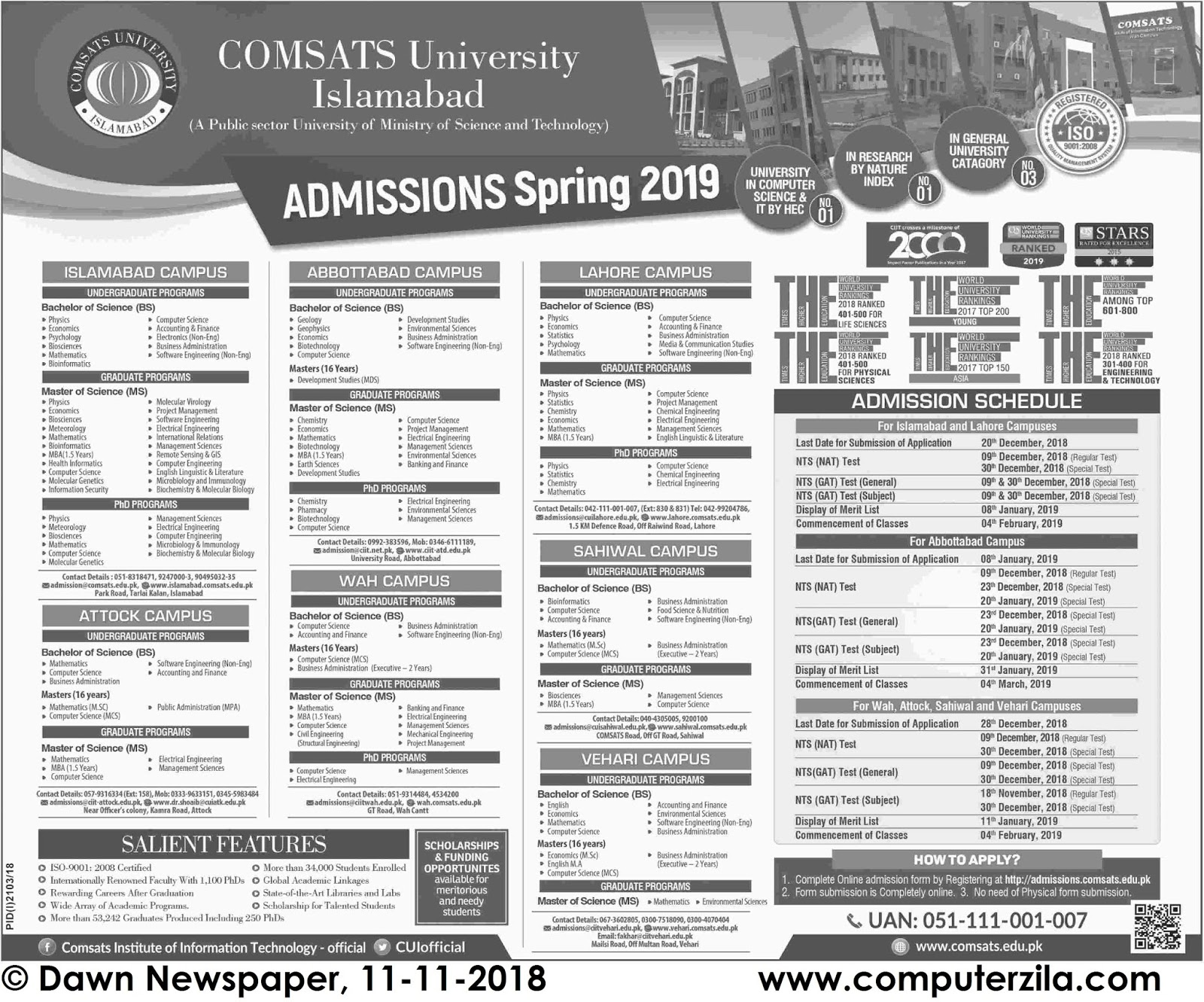 Admissions Open For Spring 2019 At CUI Lahore, Islamabad, Abbottabad, Attock, Wah, Sahiwal and Vehari Campus