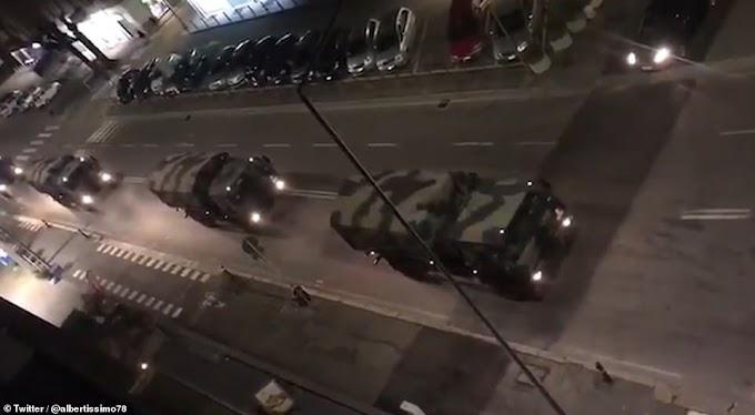 Coffins of coronavirus victims transported by Italian army trucks