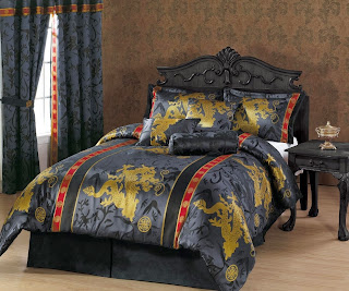 Chezmoi Collection 7-Piece Palace Dragon Jacquard Comforter Set, Queen, Black/Gold/Red by Chezmoi Collection