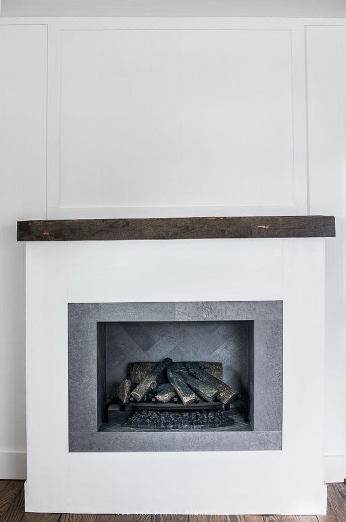 faux modern farmhouse fireplace