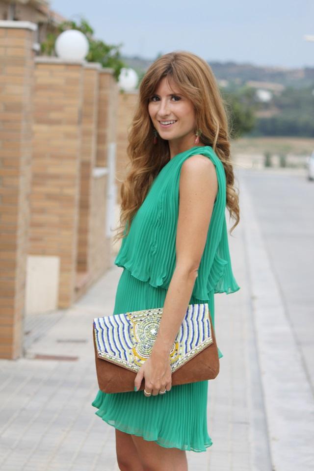 Blog De Moda Y Lifestyle Vestido Verde Asimétrico De Volantes