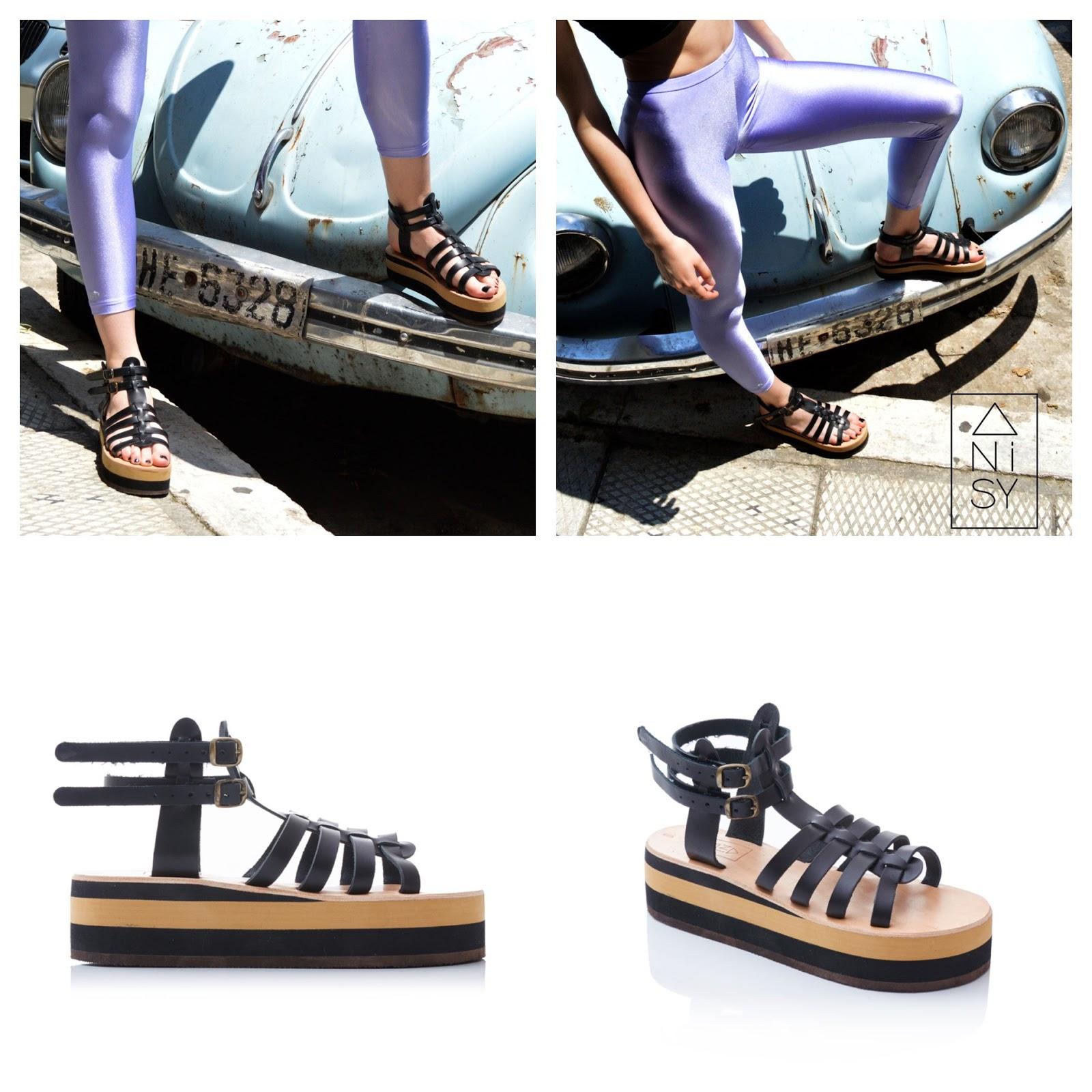 5ff9581a0336 The  Aplitis  Nude Beige Flatform Gladiator Sandals. The  Avgitis  Black Flatform  Gladiator Sandals