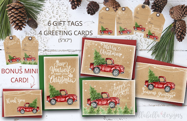 Red Vintage Truck Christmas Greeting Cards and Gift Tags Digital Printable by Ellabella Designs