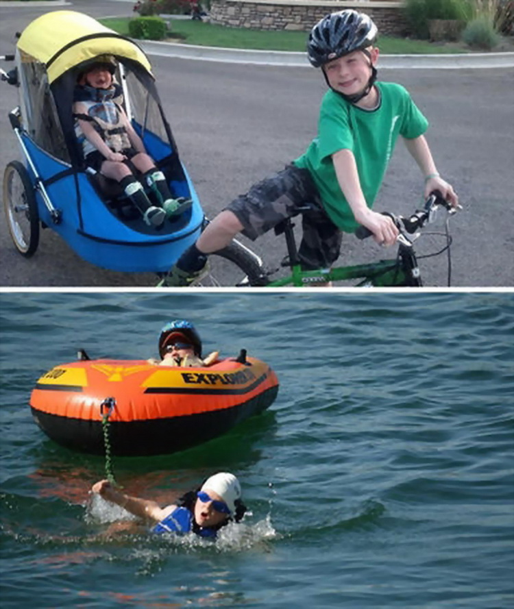 These are brothers, Lucas and Noah. Lucas has Lissencephaly. Noah heard about a local youth triathlon and wanted to compete in it, but he wouldn't take part unless Lucas could take part alongside him.