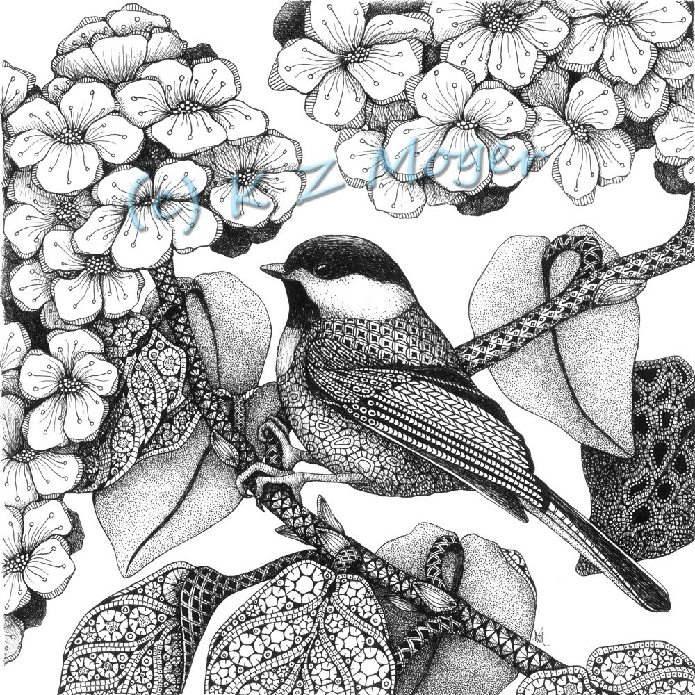02-Chickadees-Kristin-Moger-Animal-Portraits-Dressed-with-Zentangle-Textures-www-designstack-co