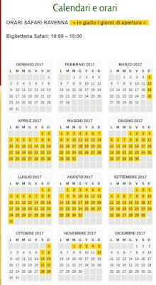 Calendario Safari Ravenna 2017