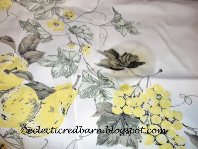 Eclectic Red Barn: Adding lemon juice to stain on a tablecloth